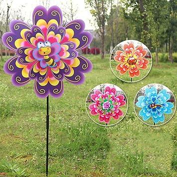 erticvtiu Doble Capa Flor Molino Viento Molinillo Viento Molinillo Niños Juguetes Jardín Decoración: Amazon.es: Juguetes y juegos