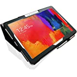 Samsung Galaxy NotePRO 12.2 (P9000 / P9010) Custom Made Multi-Angle 'Pen' Case with Stand Function, Sleep / Wake Sensor and 2 in 1 Stylus / Biro Pen by LuvTab® (Black)