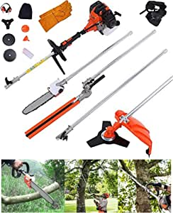 Shueriu Hedge Trimmer Chainsaw Brush Cutter 52CC 6 in 1 Multi Functional Sets Gas Hedge Trimmer Included Brush Cutter, Pruner, Strimmer, Hedge Trimmer and Extension Pole