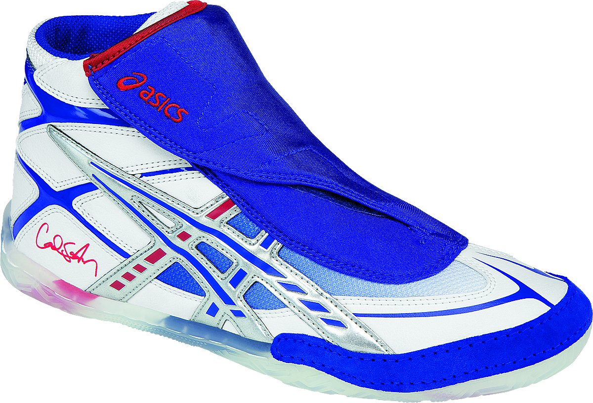 ASICS Men's Cael Wrestling Shoe, White/Blue/Red, 10.5 M US by ASICS