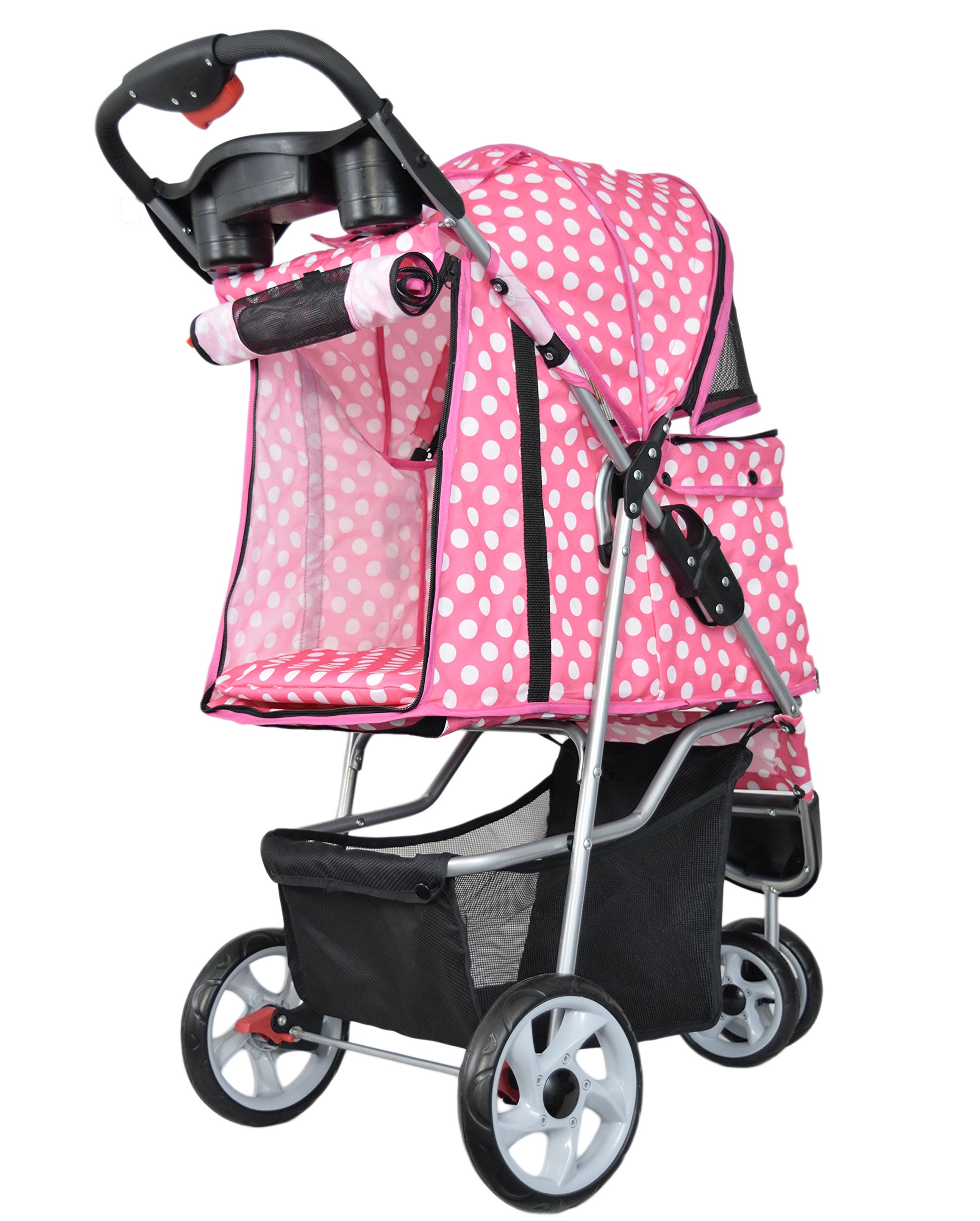 VIVO Three Wheel Pet Stroller, for Cat, Dog and More, Foldable Carrier Strolling Cart, Multiple Colors (Pink & White Polka Dot) by VIVO (Image #8)