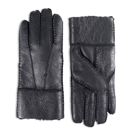 Yiseven Men's Winter Sheepskin Mittens Shearling Leather Gloves Two Points by Yiseven
