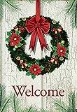 "Morigins Welcome Christmas Wreath Double Sided Decorative Winter Garden Flag 12""x18"""