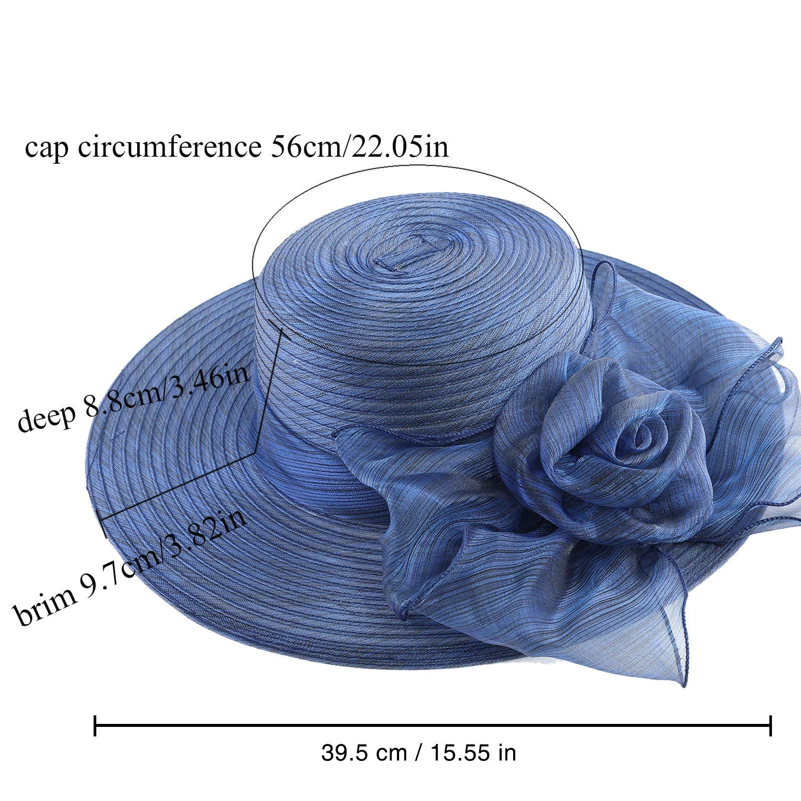 WELROG Women's Derby Church Dress Hat - Wide Brim Floppy Floral Ribbon UPF Protection Wedding Sun Hats(Navy Blue) by WELROG (Image #5)