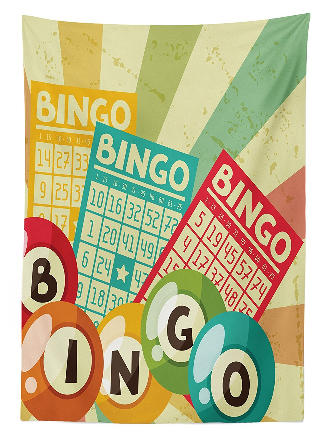 Vintage Decor Tablecloth Bingo Game with Ball and Cards Pop Art Stylized Lottery Hobby Celebration Theme Dining Room Kitchen Rectangular Table Cover Multi by vipsung