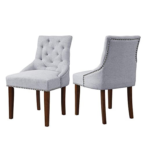 Merax Fabric Dining Chairs Set of 2 Leisure Padded Tufted Kitchen Chair