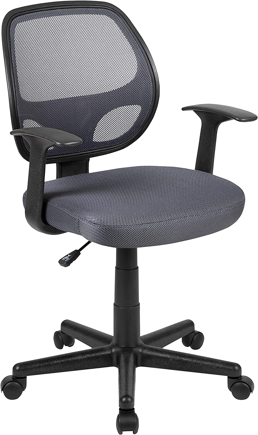 Flash Fundamentals Mid-Back Gray Mesh Swivel Ergonomic Task Office Chair with Arms