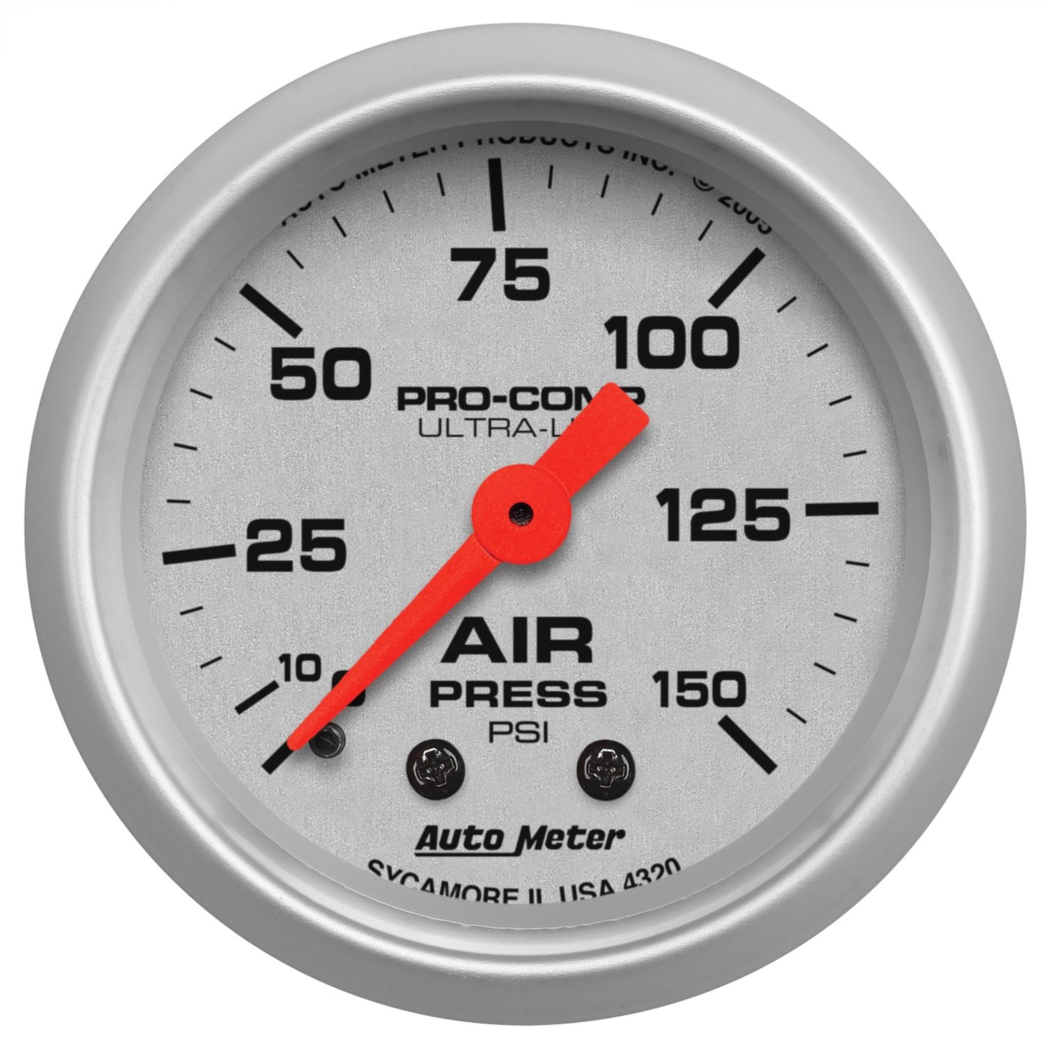 Auto Meter 4320 Ultra-Lite 2-1/16' 0-150 PSI Mechanical Air Pressure Gauge