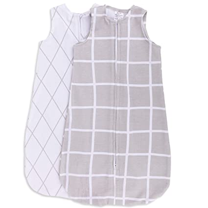 100/% Cotton Wearable Blanket Baby Sleep Bag 2 Pack Grey Stars 3-6 Months Elys /& Co