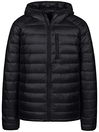 2b5bc8e8662 Wantdo Men s Packable Insulated Light Weight Hooded Puffer Down Jacket(Black  ...