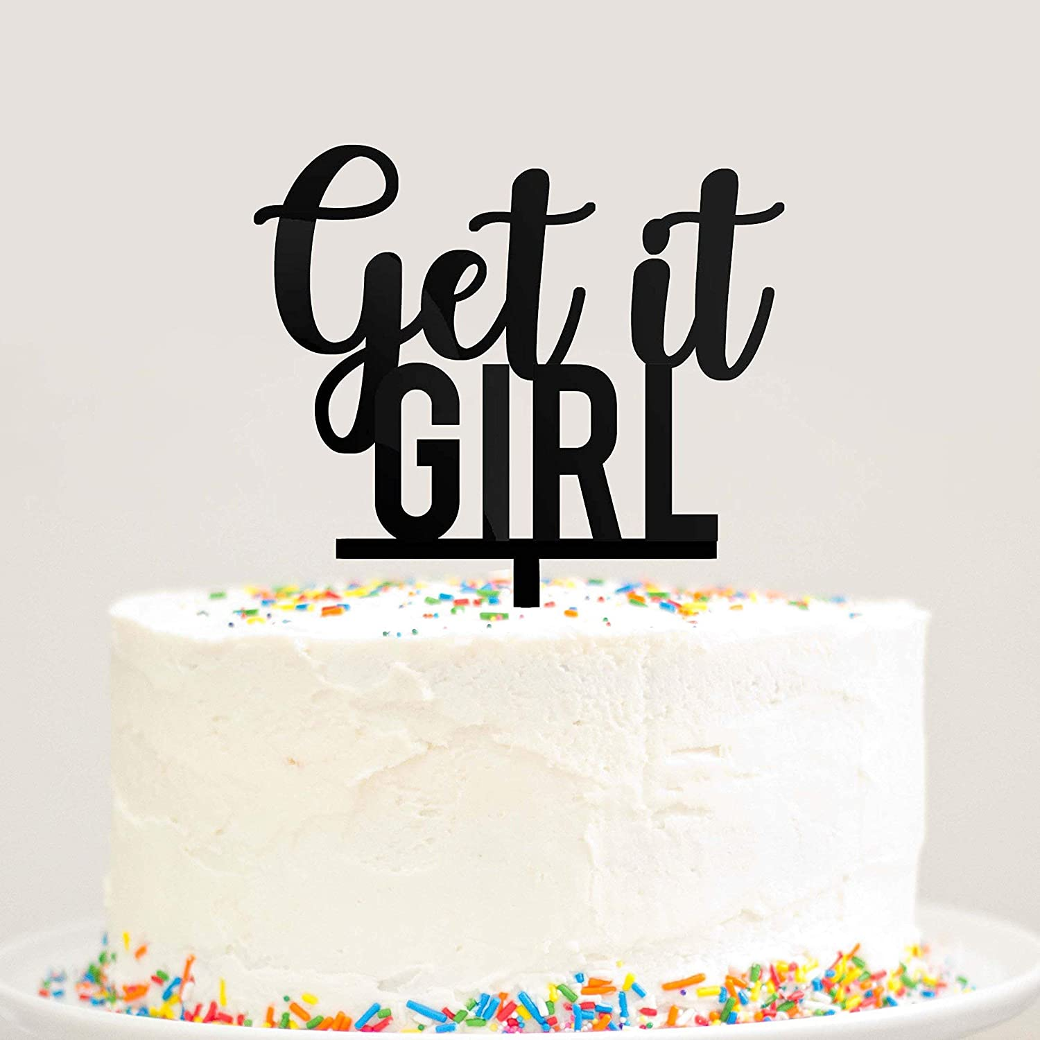 Amazon Get It Girl Cake Topper Black Acrylic Woman Feminist Birthday Engagement Bachelorette New Job Graduation Handmade