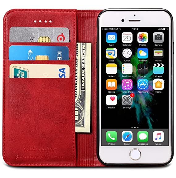size 40 2a681 d312d iPhone 7 Case, iPhone 8 Case, SINIANL Premium Leather Wallet Case Business  Credit Card Holder Folio Flip Cover for iPhone 7/8