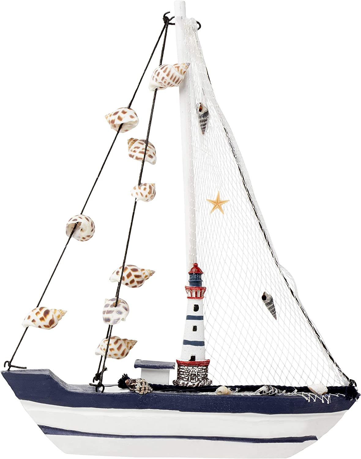 Juvale Sailboat Model Decoration - Wooden Ship Sailing Boat Home Decor, Beach Nautical Theme Lighthouse and Seashells, Blue White, 10.25 x 12.75 x 1.75 inches