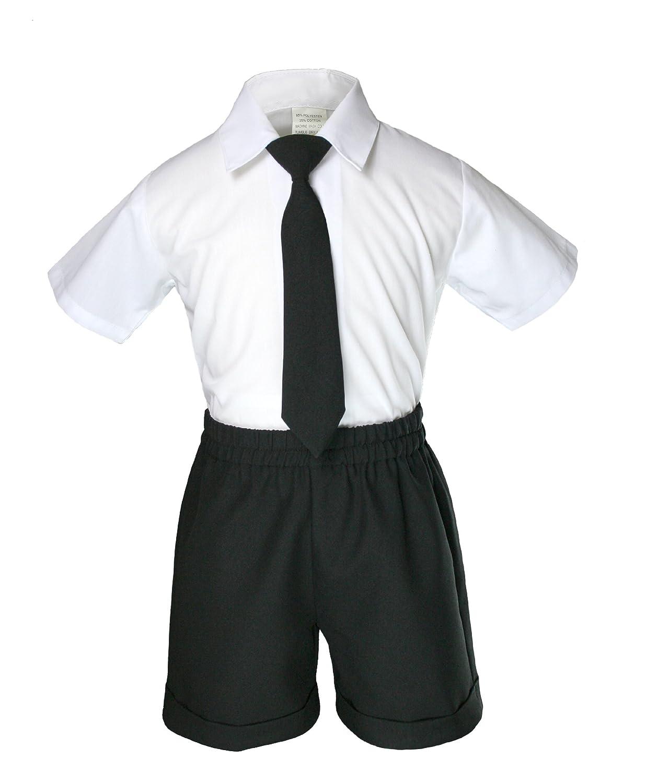 Infant Baby Boys Formal Wedding Black Necktie Vest Shorts Suits Set 2T-4T 2T