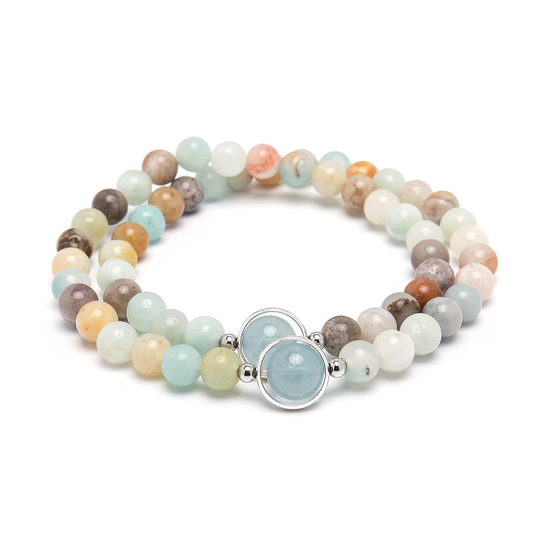 Bivei Premium Natural Genuine Gemstone Round Beads Multi Layer Crystal Bracelets in Gift Box anbivi11121983