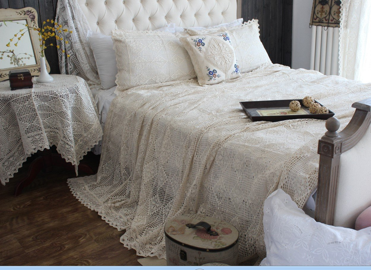 Cotton Thread Imitation of Hand Crochet Hook Flower Bed Cover Beige Lace Bed Spread Blanket