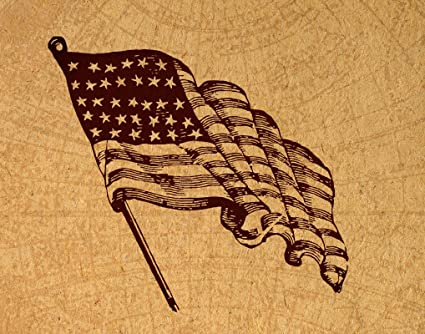 American Flag Art Print Vintage America Artwork Antique USA Freedom Poster Or Wall