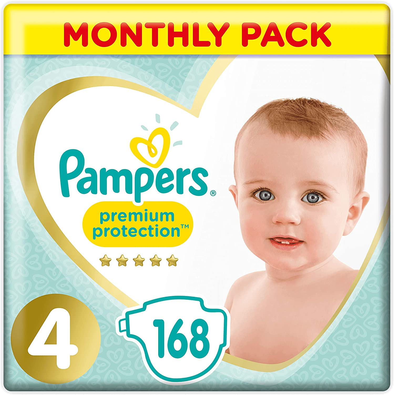 Monthly Saving Pack 9-15 kg Pampers Premium Protection 168 Nappy Pants Size 4