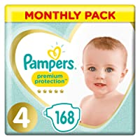 Pampers Premium Protection Size 4, 168 Nappies, (9-14 kg)/(8-16kg)( Pack of 1)