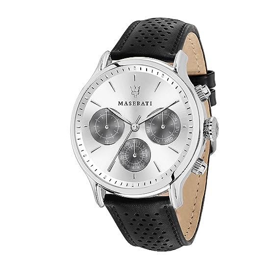MASERATI Reloj Multiesfera para Hombre de Cuarzo con Correa en Cuero R8851118009: Amazon.es: Relojes