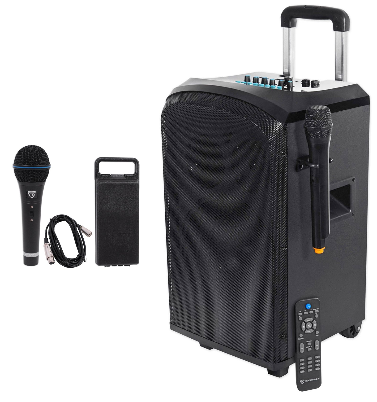 Rockville 10'' Portable YouTube Bluetooth Karaoke Machine/System+(2) Microphones