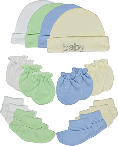 Baby Girls Boys Adorable 100/% Cotton Set of 2 Hat /& Booties Newborn to 3 Months 100/% Perfect White Blue