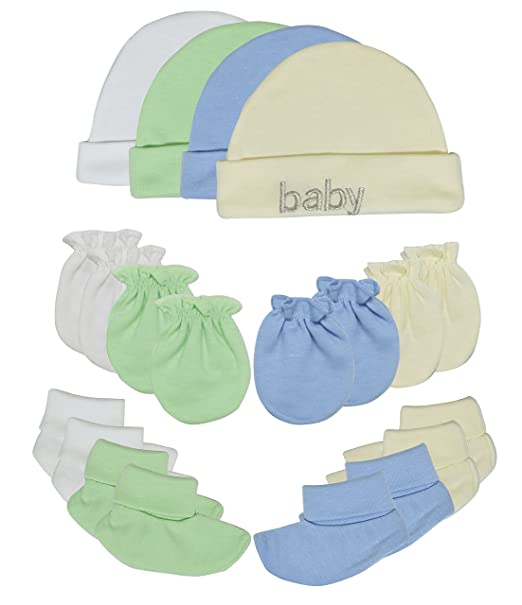 b4d988eeac5 Songbai Baby Gift Set 100% Cotton Caps Socks and Mittens For Newborn Boys  Girls (
