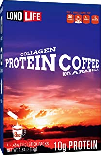 product image for LonoLife Protein Coffee with 10g Protein, Paleo and Keto Friendly, Stick Packs, 24 Count