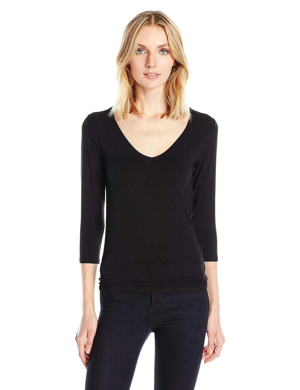536989e28 Amazon.com: Majestic Filatures Women's Basic 3/4 Sleeve V-Neck Tee W/Flat  Edge Trim: Clothing