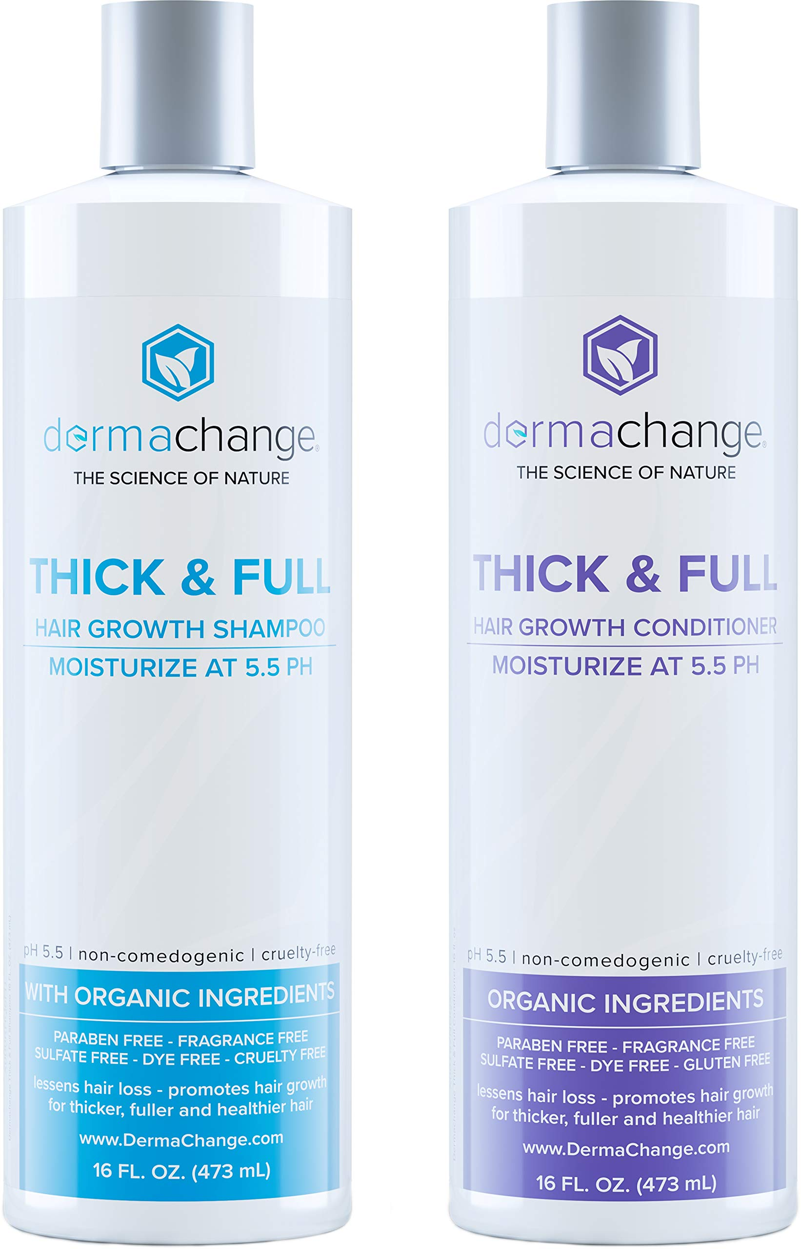 Organic Vegan Hair Growth Shampoo and Conditioner Set - Natural Hair Regrowth with Vitamins - Hair Loss & Thinning Products - Curly or Color Treated Hair - For Men and Women - Sulfate Free (16oz) by DermaChange