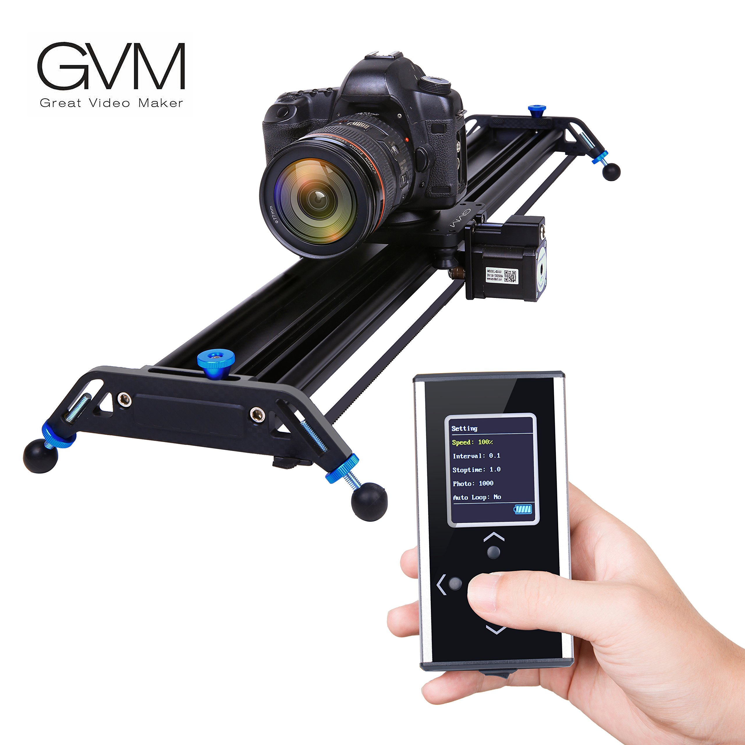 Motorized Camera Slider Dolly Track GVM 31.8 inch Automatic Cycle Time Lapse Tracking 120 Degree wide-angle Shooting of the Most Smooth Video Slider Track (Aluminum Alloy) by GVM