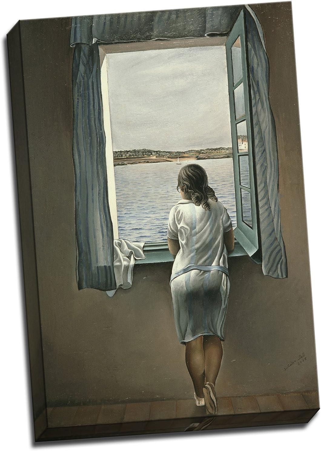 Salvador Dalí mujer en la ventana, impresión en lienzo, Póster grande, Varios Colores, 24 X 16 Inches (61cm x 41cm)