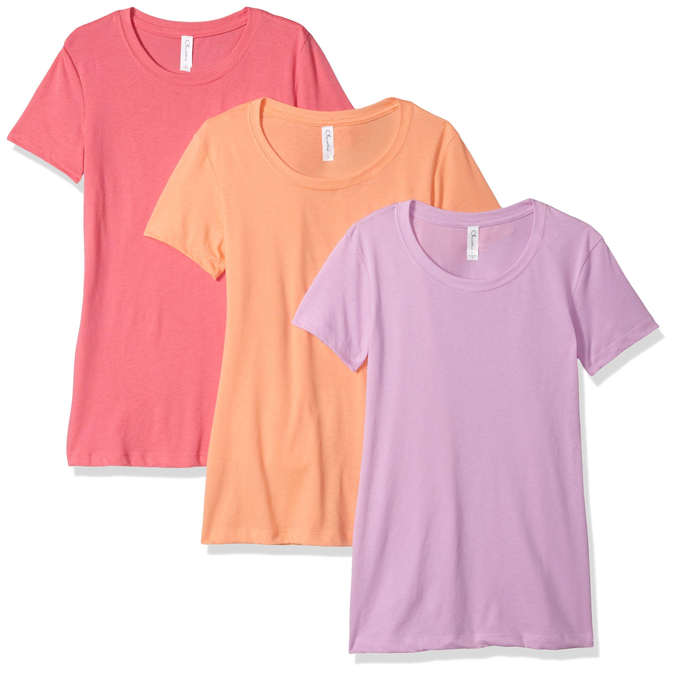 Clementine Apparel Women's Petite Plus Ideal Crew-Neck T-Shirts (Pack of 3), Hot Pink/Lilac/Light Orange, L