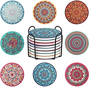 Dichmag Set of 8 Coasters for Drinks - Cork Base, with Holder, Absorbing Stone Mandala Cups and Mugs Mats set for Housewarming, Birthday, Living Room Decor