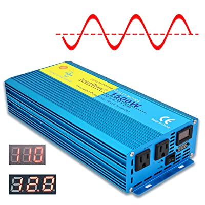 Cantonape 1500W Pure Sine Wave Inverter 12V to 110V 3000W Peak Power Converter DC to AC with LCD Display, Dual AC Outlets for Car Boat Truck RV Solar Power (Pure Sine Wave 1500W): Automotive