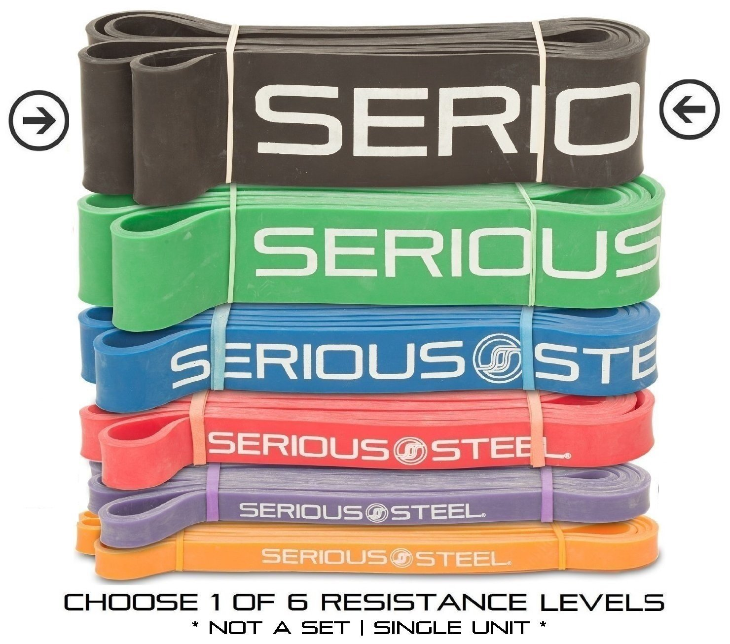 Serious Steel Fitness Black - #5 Strong Assisted Pull-up & Resistance Power Stretch Band (Size: 2.5 by Serious Steel Fitness (Image #1)