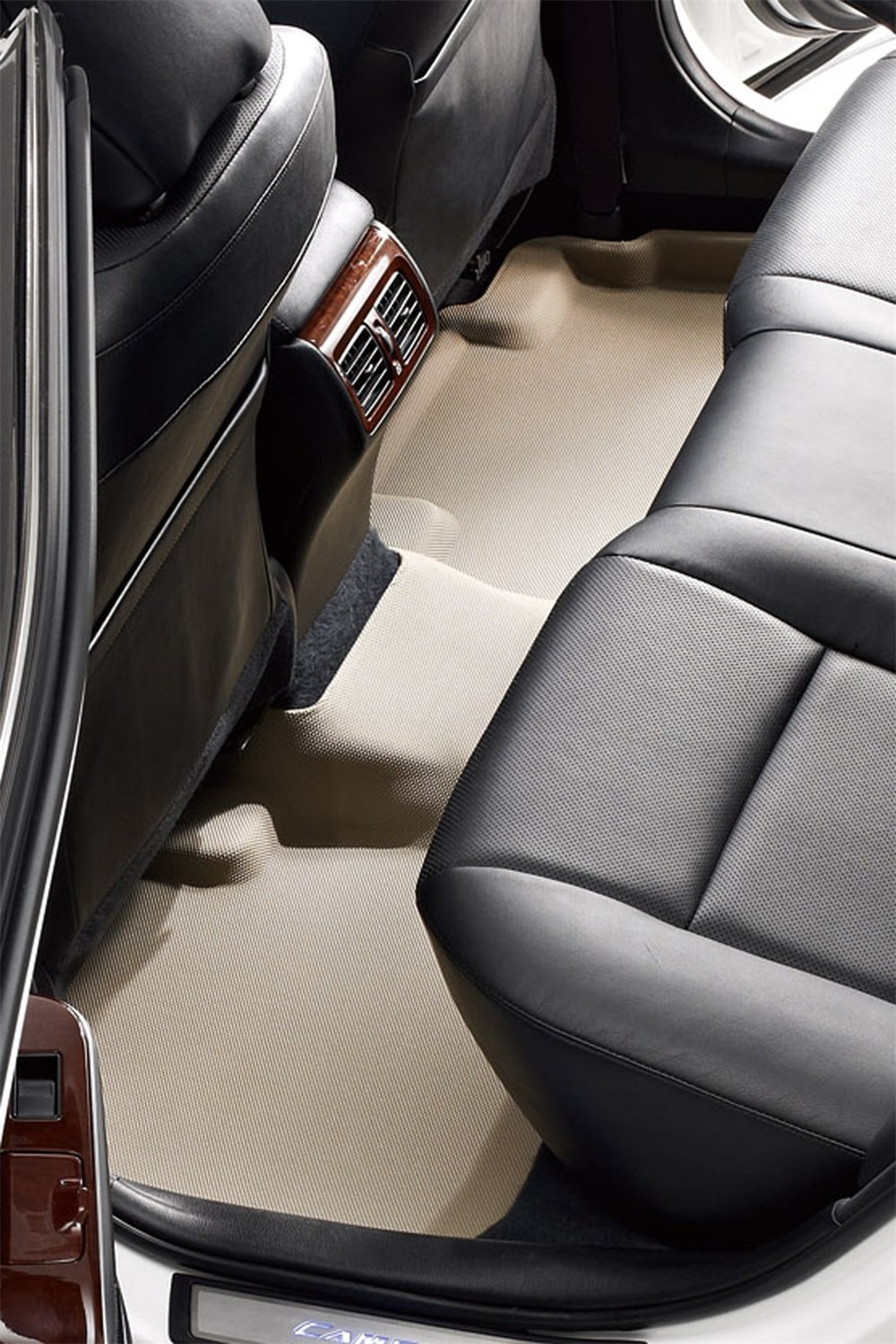 3D MAXpider Second Row Custom Fit All-Weather Floor Mat for Select Kia Forte Models Kagu Rubber Tan