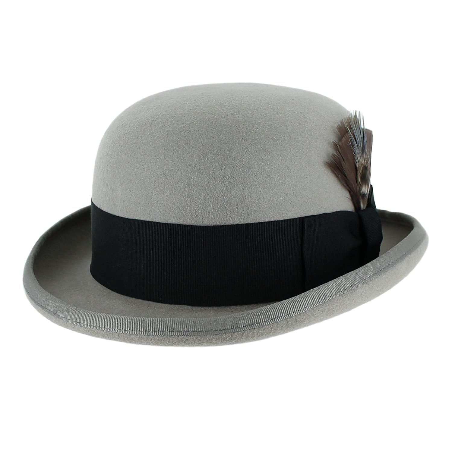 Victorian Men's Hats- Top Hats, Bowler, Gambler Belfry Bowler Derby 100% Pure Wool Theater Quality Hat in Black Brown Grey Navy Pearl Green $39.95 AT vintagedancer.com
