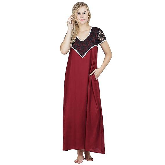 PATRORNA White Shift Nighty Night Dress Nightwear Night Gown for ...