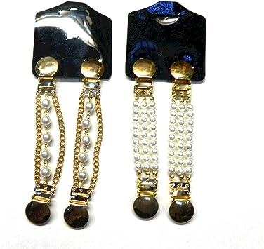 Dos pares sujeciones para mangas blusas camisas arremangar perlas forma de mano y redondeada clips plateado dorado