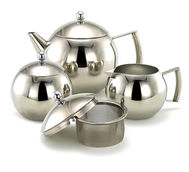 Juego de te y café 3 piezas - tetera/cafetera, cremera y azucarero. OVADA: Amazon.es: Hogar