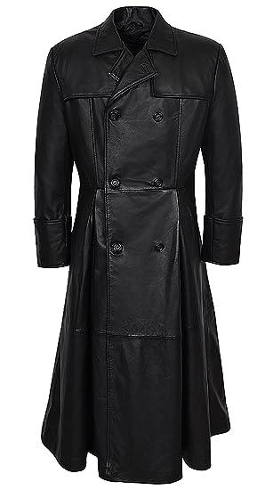 Smart Range Mens Morpheus Full Length Matrix Leather Jacket Coat at Amazon Mens Clothing store: