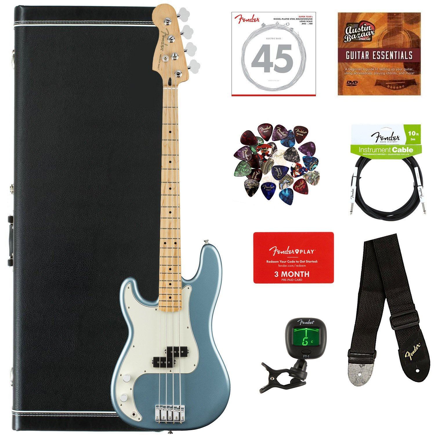 Fender Player Precision Bass Maple Left Handed Accurate Tone Control Tidepool Bundle With Hard Case Cable Tuner Strap Strings Picks Play Online