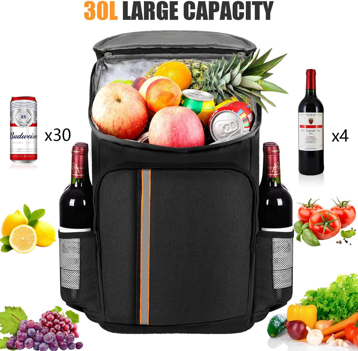 Leakproof Insulated Backpack Cooler NUHOAO Cooler Backpack 30 Cans Lightweight Backpack Coolers for Men Women Soft Cooler Bag for Lunch Beach Camping Picnic Hiking Park Work
