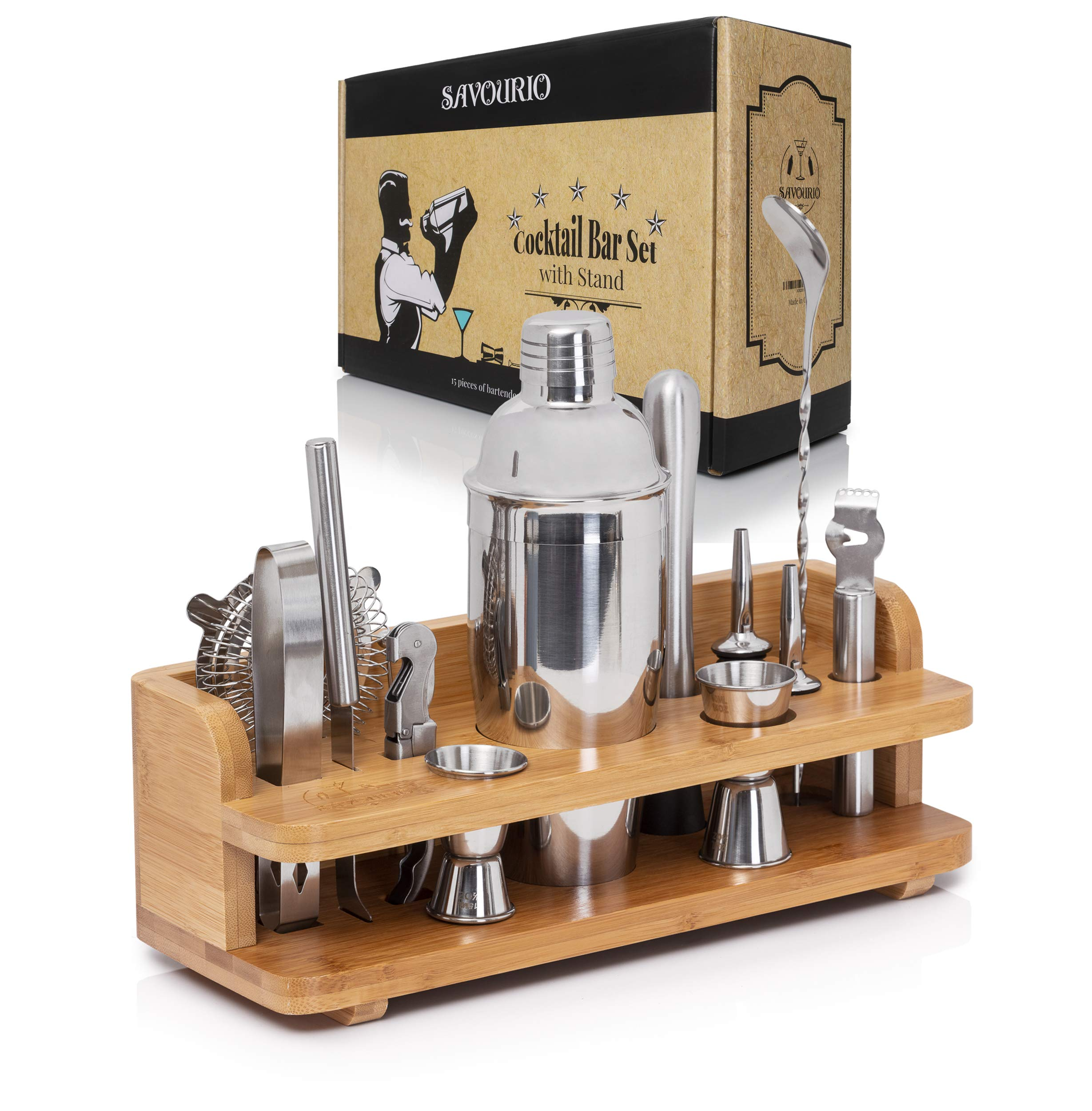 Savourio Bartender Kit Cocktail Shaker Bar Set - Complete 15-Piece Premium Quality Stainless Steel Utensils - Sleek & Elegant Design - Practical Wood Stand Included by Savourio