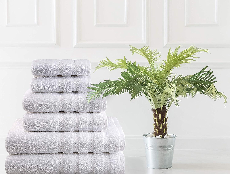 American Soft Linen 6-Piece 100% Turkish Genuine Cotton Premium & Luxury Towel Set for Bathroom & Kitchen, 2 Bath Towels, 2 Hand Towels & 2 Washcloths [Worth $72.95] - Bright White: Home & Kitchen