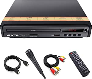 DVD Player, Home DVD Players for TV Region Free DVDs 1080p Full HD Compact CD/DVD Player with Karaoke Microphone, Multi-Functional Player AV+HDMI Cable/ Remote Control/Microphone Included