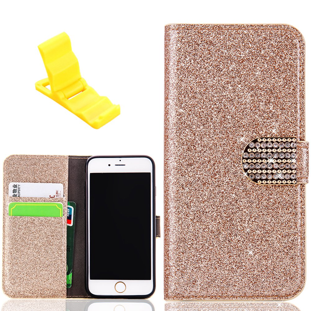 iPhone 6s Glitter Wallet Case, iPhone 6 Leather Case, SXUUXB Luxury Design Glitter Shiny Diamond Cover with Stand Function and Credit Card Slots for Apple iPhone 6/6s 4.7 inch - Rose Gold + 1 x Free Bracket(Color Random) Coverteep