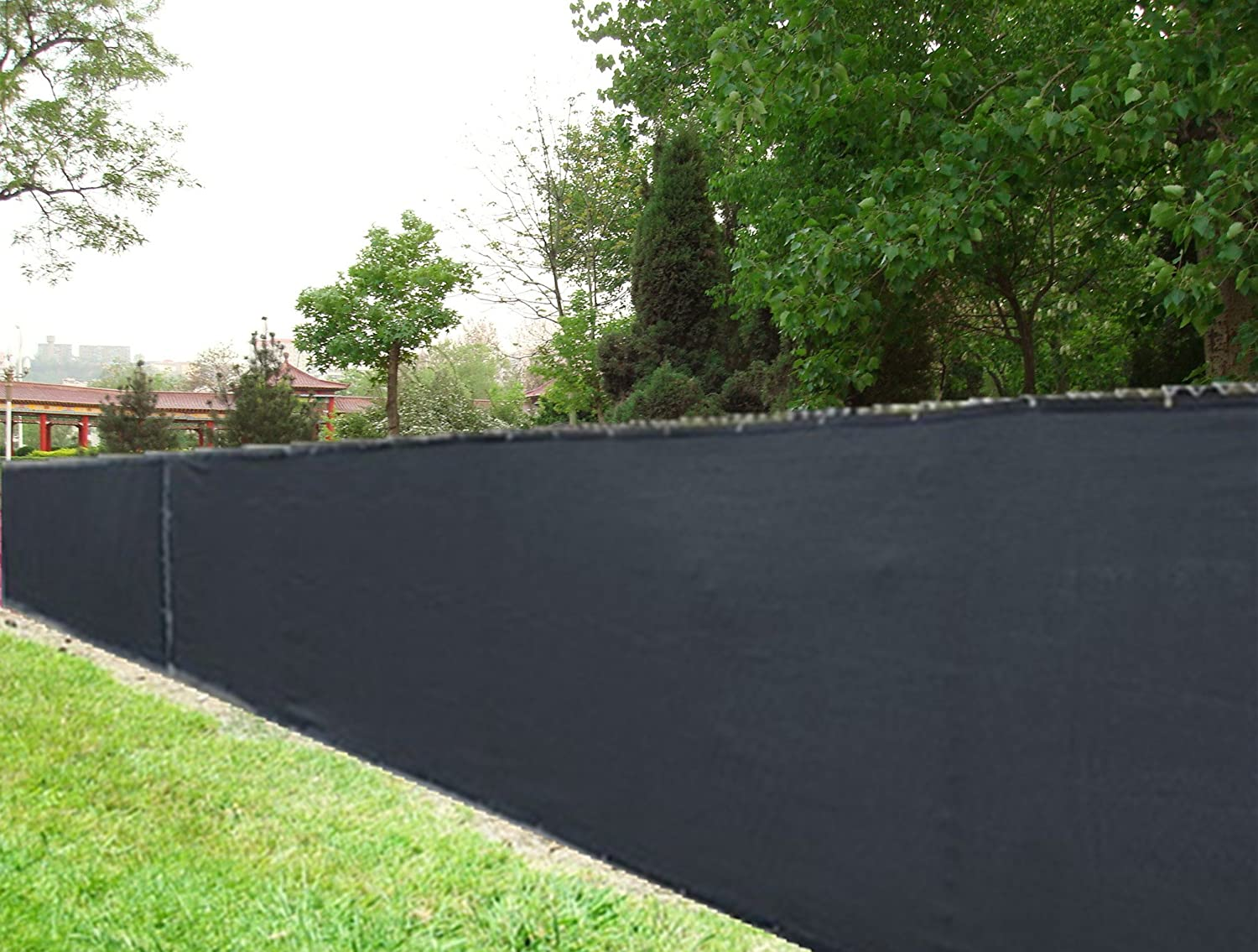 8 X 50 Black Knitted Polyethylene Privacy Fence Screen 85 Blockage Garden Outdoor