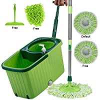 Smile mom Magic Spin Mop with Bucket Set with Easy Wheels for Best 360 Degree Floor Cleaning; 2 Refill Head; Microfiber Glove + Kitchen Wiper (Green)